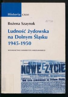 Ludność żydowska na Dolnym Śląsku 1945-1950