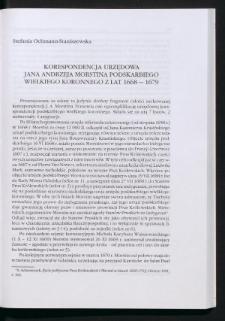 Korespondencja urzędowa Jana Andrzeja Morstina podskarbiego wielkiego koronnego z lat 1668-1679