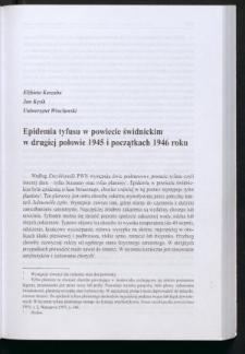 Epidemia tyfusu w powiecie świdnickim w drugiej połowie 1945 i początkach 1946 roku