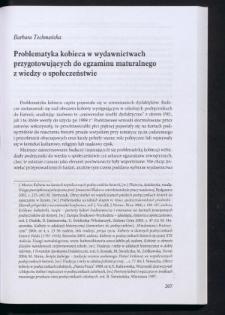 Problematyka kobieca w wydawnictwach przygotowujących do egzaminu maturalnego z wiedzy o społeczeństwie