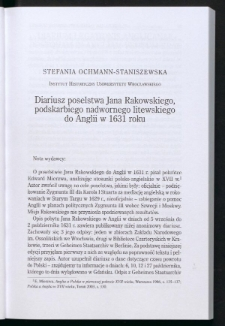 Diariusz poselstwa Jana Rakowskiego, podskarbiego nadwornego litewskiego do Anglii w 1631 roku,