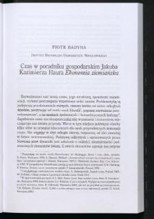 """Czas w poradniku gospodarskim Jakuba Kazimierza Haura"""" Ekonomia ziemiańska"""""""