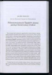 Późnonowożytnych Ślązaków pisanej pamięci historycznej trwałość