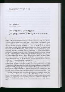 Od biogramu do biografii (na przykładzie Wawrzyńca Korwina)