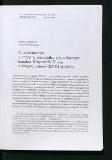 O włościaninie - chłop w poradniku gospodarczym księdza Krzysztofa Kluka z drugiej połowy XVIII stulecia