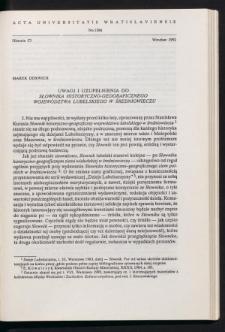 Uwagi i uzupełnienia do Słownika historyczno-geograficznego województwa lubelskiego w średniowieczu
