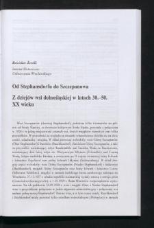 Od Stephansdorfu do Szczepanowa. Z dziejów wsi dolnośląskiej w latach 30.-50. XX wieku