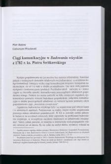 """Ciągi komunikacyjne w """"Budowaniu wieyskim"""" z 1782 r. ks. Piotra Świtkowskiego"""