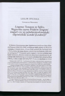 Lingones Tomasza ze Splitu. Węgierska nazwa Polaków (lengyen/lengyel) czy jej południowosłowiański odpowiednik (Lendel [Lenden])?