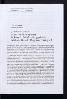 """""""Capillum usque ad cutem ferro caedunt"""". W kwestii źródeł i wiarygodności przekazu """"Kroniki"""" Reginona o Węgrach"""