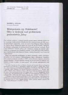 Małopolanin czy Połabianin? Głos w dyskusji nad problemem pochodzenia Jaksy