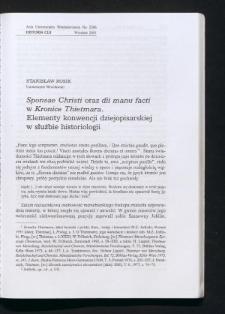 Sponsae Christi oraz dii manu facti w Kronice Thietmara. Elementy konwencji dziejopisarskiej w służbie historiologii