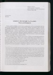 Szkoły jezuickie na Śląsku. Zarys problematyki