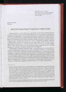 """Motyw ślężański w """"Kronice"""" Thietmara"""