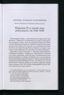 Władysław IV w świetle pism politycznych z lat 1648-1668