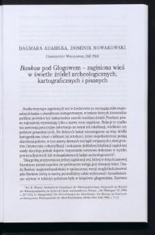 Bankau pod Głogowem - zaginiona wieś w świetle źródeł archeologicznych, kartograficznych i pisanych