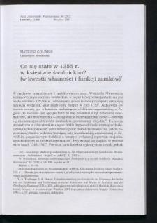 Co się stało w 1355 r. w księstwie świdnickim? (w kwestii własności i funkcji zamków)