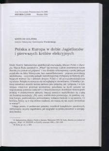 Polska a Europa w dobie Jagiellonów i pierwszych królów elekcyjnych