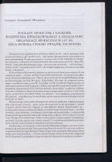 Poglądy społeczne i naukowe Eugeniusza Kwiatkowskiego a działalność organizacji społecznych lat 40. (Liga Morska i Polski Związek Zachodni)