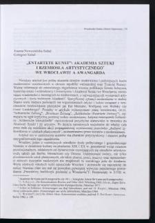 """""""Entartete Kunst"""": Akademia Sztuki i Rzemiosła Artystycznego we Wrocławiu a awangarda"""
