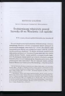 Średniowieczni właściciele posesji Szewska 49 we Wrocławiu i ich sąsiedzi