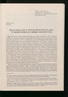Franciszkanie w społeczeństwie Śląska w średniowieczu i dobie nowożytnej