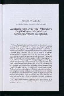 """""""Anatomia sejmu 1640 roku"""" Władysława Czaplińskiego na tle badań nad parlamentaryzmem staropolskim"""