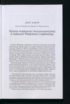 Historia wojskowości wczesnonowożytnej w badaniach Władysława Czaplińskiego