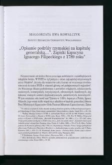 """""""Opisanie podróży rzymskiej na kapitułę generalską..."""". Zapiski kapucyna Ignacego Filipeckiego z 1789 roku"""