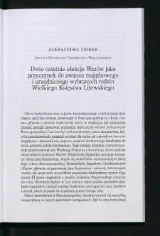 Dwie ostatnie elekcje Wazów jako przyczynek do awansu majątkowego i urzędniczego wybranych rodzin Wielkiego Księstwa Litewskiego
