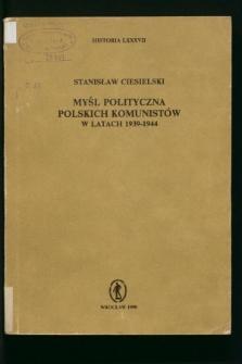 Myśl polityczna polskich komunistów w latach 1939-1944