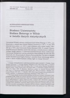 Studenci Uniwersytetu Stefana Batorego w Wilnie w świetle danych statystycznych