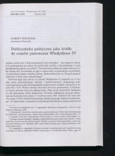Publicystyka polityczna jako źródło do czasów panowania Władyslawa IV