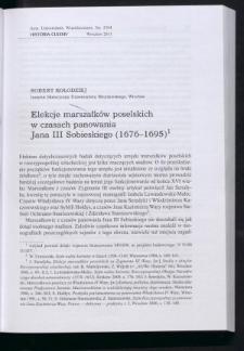 Elekcje marszałków poselskich w czasach panowania Jana III Sobieskiego (1676-1695)