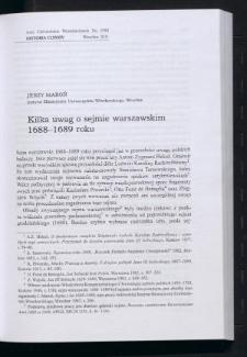 Kilka uwag o sejmie warszawskim 1688-1689 roku