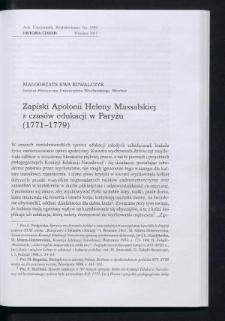 Zapiski Apolonii Heleny Massalskiej z czasów edukacji w Paryżu (1771-1779)