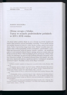 Obraz wroga z bliska. Turcy w oczach podróżników polskich w XVI i XVII wieku