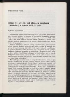 Polacy we Lwowie pod okupacją radziecką i niemiecką w latach 1939-1944