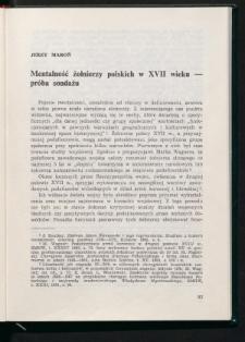 Mentalność żołnierzy polskich w XVII wieku - próba sondażu