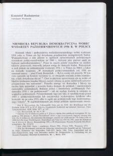 Niemiecka Republika Demokratyczna wobec wydarzeń październikowych 1956 r. w Polsce