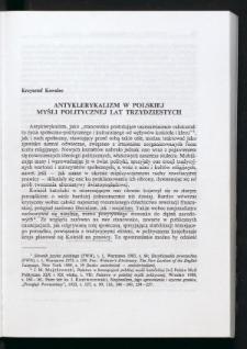 Antyklerykalizm w polskiej myśli politycznej lat trzedziestych