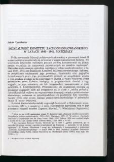 Działalność Komitetu Zachodniosłowiańskiego w latach 1940-1941. Materiały