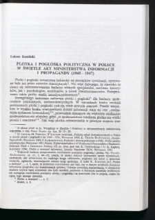 Plotka i pogłoska polityczna w Polsce w świetle akt Ministerstwa Informacji i Propagandy (1945-1947)