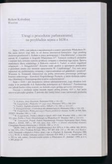 Uwagi o procedurze parlamentarnej na przykładzie sejmu z 1638 r.