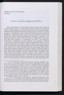 Loreto w polskiej religijności XVIII w.