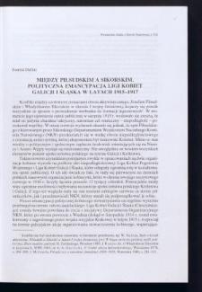 Między Piłsudskim a Sikorskim. Polityczna emancypacja Ligi Kobiet Galicji i Śląska w latach 1915-1917