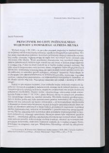 Przyczynek do listu pożegnalnego wojewody lwowskiego Alfreda Biłyka