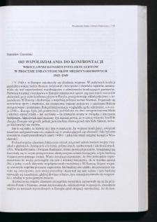 Od współdziałania do konfrontacji. Wrocławski Kongres Intelektualistów w procesie zmian stosunków międzynarodowych 1945-1949