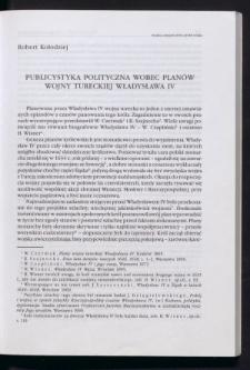 Publicystyka polityczna wobec planów wojny tureckiej Władysława IV