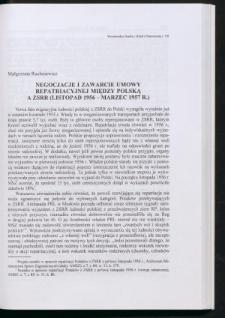 Negocjacje i zawarcie umowy repatriacyjnej między Polską a ZSRR (listopad 1956 - marzec 1957 r.)